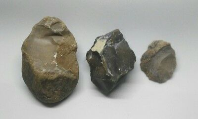 Nice big Prehistoric tools STONE AGE PALEOLITHIC FLINT big lot of 3