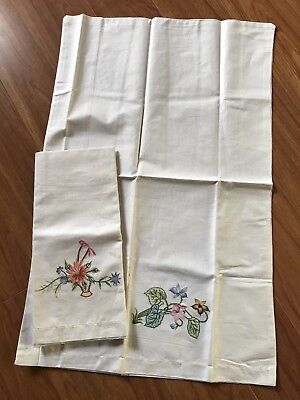 Pair Vintage Shanghai Embroidery Cotton Pillowcases Embroidered Flowers