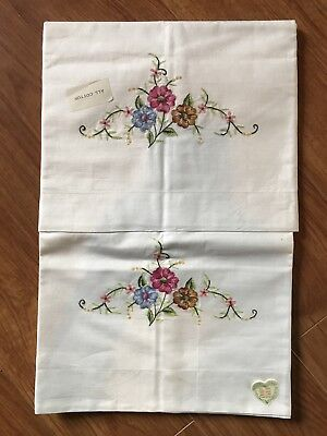 Pair Vintage Shanghai Embroidery Cotton Pillowcases Embroidered Flowers, Unused