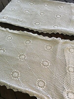 Pair of Vintage White Cotton Pillowcases with Crochet Front 65 x 35cm