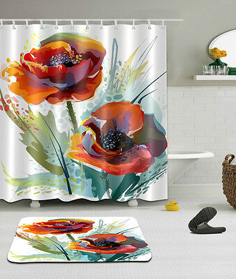 Splashing Watercolor Flowers Shower Curtain Liner Bathroom Mat Waterproof Fabric