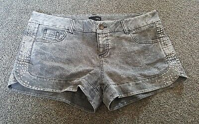 Ladies Black Wash Denim Shorts Size 14 By Next