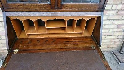 Lovely Antique Solid Oak Bureau Bookcase Writing Desk Home Office Glazed Top