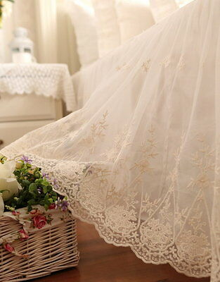 White Bed Skirt Valance Gathered Cotton Lace Queen Romantic Shabby Chic Country