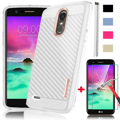 For LG Stylo 3/Stylo 3 Plus Case Armor Rugged Phone Cover+Glass Screen Protector