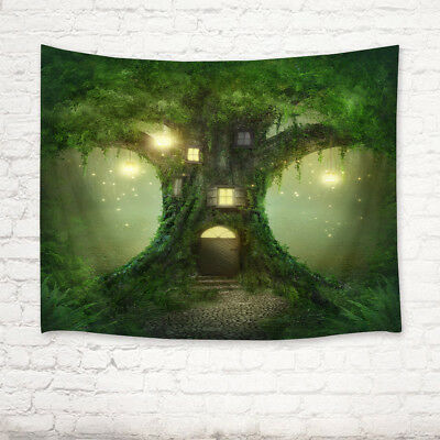 Fairy Green Tree House Scenic Tapestry Wall Hanging Living Room Bedroom Decor
