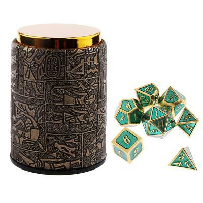 7 Set Metal Polyhedral Dice for Dungeons and Dragons DND +Dice Cup Black #A