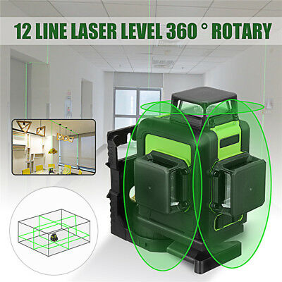 360° 3D Rotary 12Line Laser Level Green Self Leveling Vertical Horizontal Cross