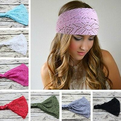 Womens Yoga Lace Wide Headband Head Wrap Soft Elastic Turban Retro Hair Band New