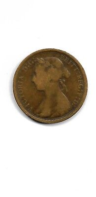 Great Britain Uk 1889  1/2 penny coin**