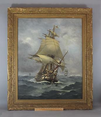 Large Antique PAUL LOUIS Maritime Oil Painting, French Galleon Ship w/ Neptune