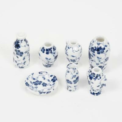 1:12 Doll House Decor Mini Blue Floral China Porcelain Vase Vine Set of 7pcs