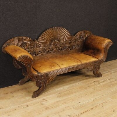 Sofa french furniture wood leather antique style skin living room armchairs 900