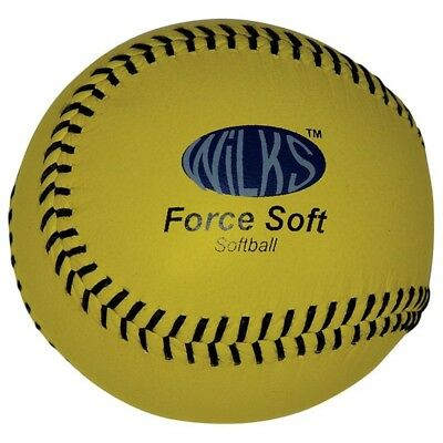 Practice Force Soft Softball Ball - Wilks Aresson Kids Leather Practise Yellow