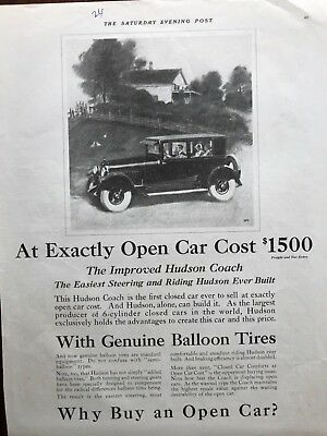 E 1924 Hudson Coach With Genuine Balloon Tires Old Car Ad.