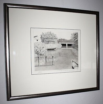 Japanese Limited Edition Etching Boat on River Tanaka Ryohei Archival UV Frame