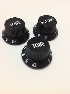 Strat Style Control Knob Set 1 Volume 2 Tone Black / White Numbers US or Import