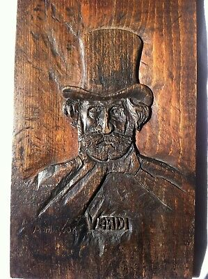 Rare Antique Carved Oak Panel - Giuseppe Verdi Composer - Head Shoulders