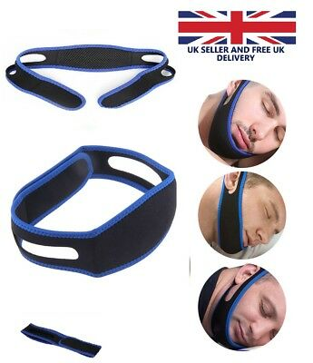 Anti Snoring Chin Strap Adjustable Jaw Sleep Aid Belt Snore Apnea FIX Support UK