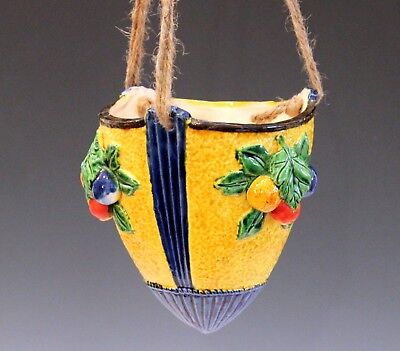 Antique or Old Japanese Banko Art Pottery Planter Hanging Deco Bowl Jardiniere