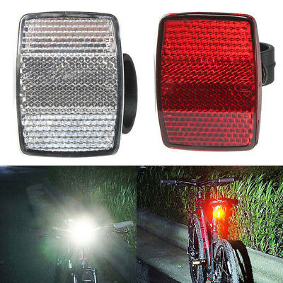 27.2mm Rear Red Bike Safety Bicycle Reflectors SetFront White