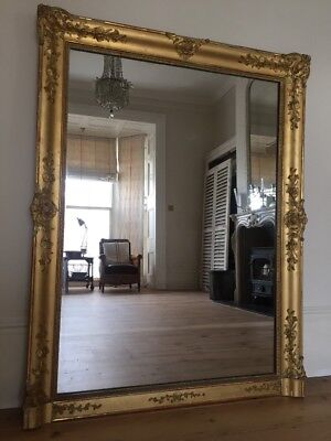Large Antique French Gilt Mirror - Original Glass