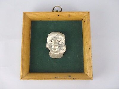 Ancient Pre-Columbian Aztec Artifact Pottery Head Framed Figure Person Face