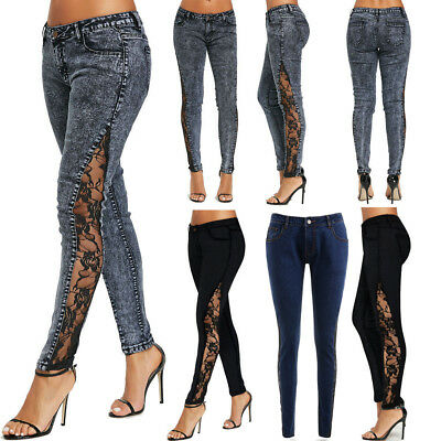 Women Jeans Sheer Lace Side Low Waist Skinny Denim Long Pants Slim Fit Trousers