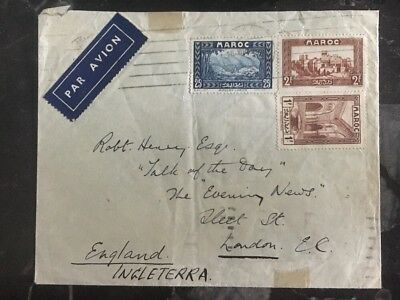 1935 Tanger Morocco Private Mail Cover To London England By Air France