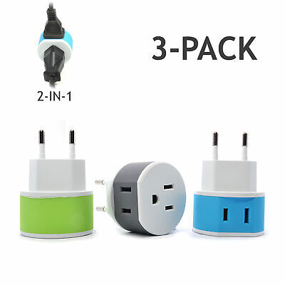 OREI Most of Europe Travel Plug Adapter - 2 USA Inputs - 3 Pack - Type C