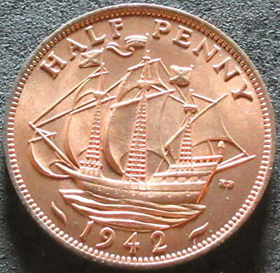 1942 Great Britain Half Penny Coin