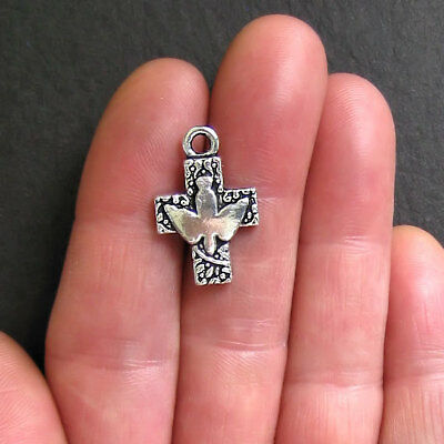 6 Cross Charms Antique Silver Tone with Beautiful Dove - SC123