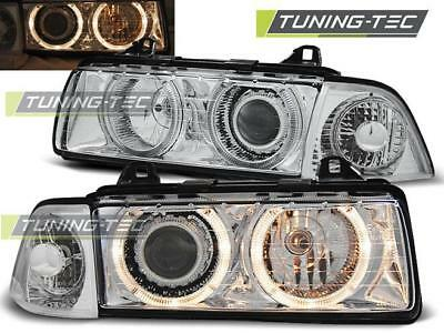 Coppia Fari Anteriori Bmw E36 12.90-08.99 Angel Eyes Chrome*315
