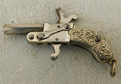 Vintage Berloque Austrian Miniature Articulated Watch Fob Pendant Toy Gun Pistol