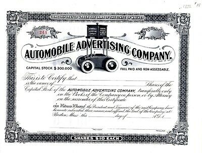 The Automobile Advertising Company of Maine ca1899 stock certificate