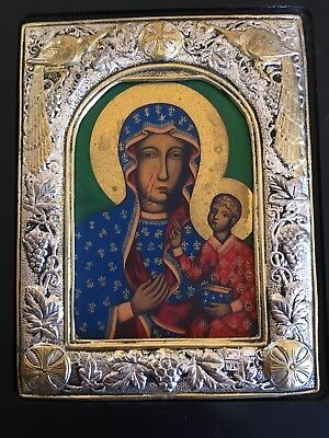 Mont Athos Byzantine Icon Wood and 925 Silver, Madonna and Child