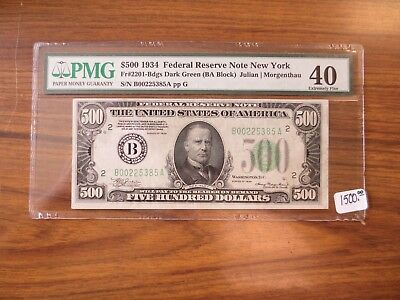 $500 1934 Federal Reserve Note New York FR#2201-bdgs Dark Green EF 40