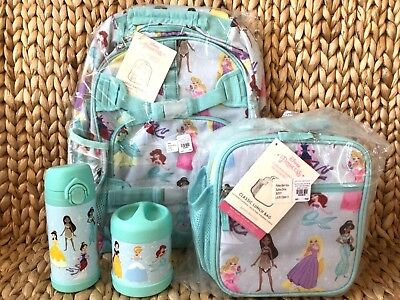 Pottery Barn Aqua Disney Princess Large Backpack Lunch Box Water Bottle Thermos