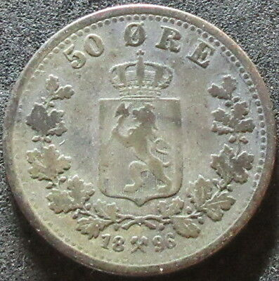 1896 Norway Silver Fifty Ore Coin