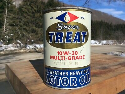 vintage SUPER TREAT motor oil can 1 quart tin can not paper