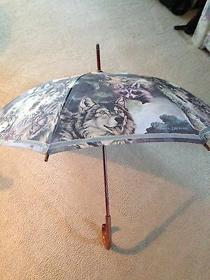 Collectible Umbrella With Wolf/native American Artwork By Bruce Lakofka, Auction