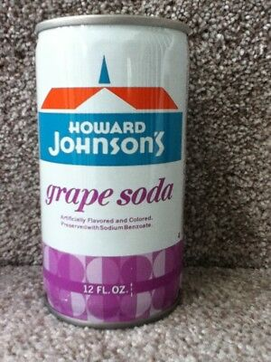 Howard Johnson's grape soda. Crimped steel,pull top. No bar code or ml listed