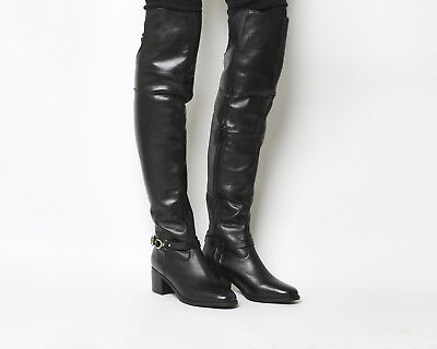Womens Office Black Leather Zip Over Knee Boots UK Size *Ex Display