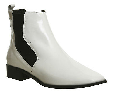 Womens Office White Leather Pull on  Ankle Boots UK Size 5 *Ex Display