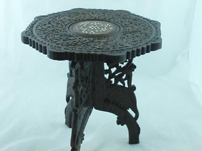 MOROCCAN # MARRAKESH # CARVED and INLAID . 32cms  Occasional Table