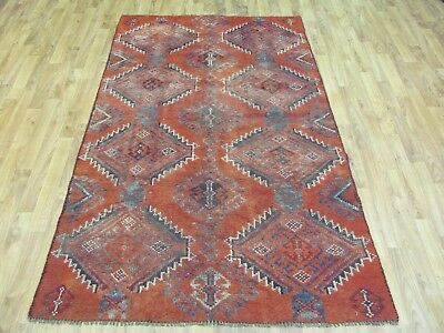 A SUPERB OLD HANDMADE LURRY PERSIAN WOOL ON WOOL RUG (208 x 117 cm)