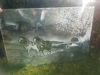 Old reclaimed etched glass pub window