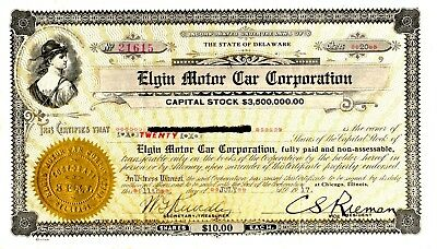 Elgin Motor Car of Argo, IL and Indianapolis, IN 1917 Stock Certificate