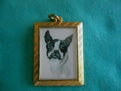BOSTON TERRIER - hand painted Charm in gold tone frame #002