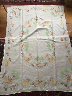 Old Bleach Irish Linen Double Damask Peasant Bird Hunt Scene Tablecloth Vintage
